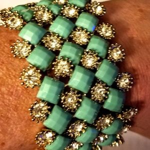 Charming Charlie Jewelry - Charming and bracelet with green settings and rhin